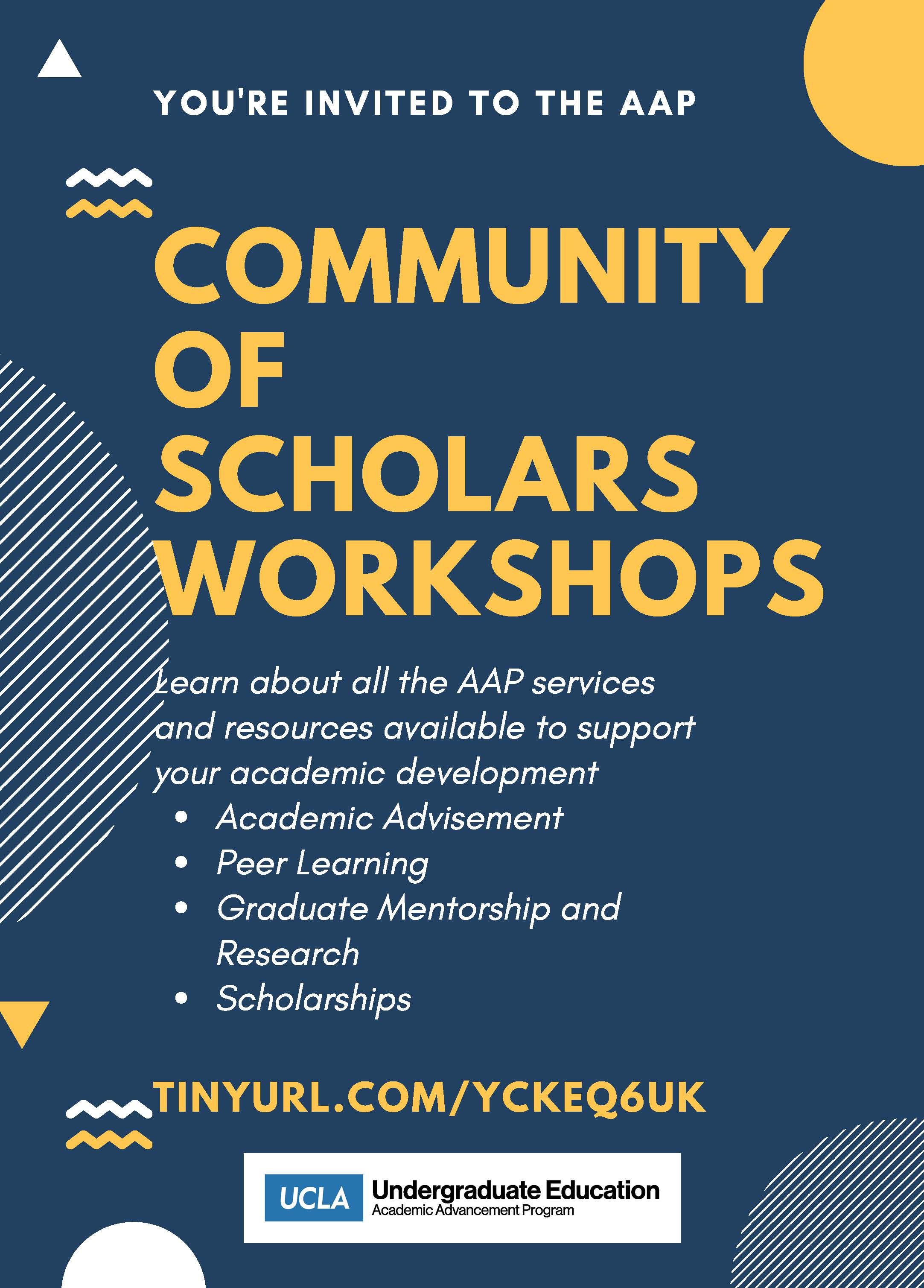 you're invited to the AAP community of scholars workshops - learn more