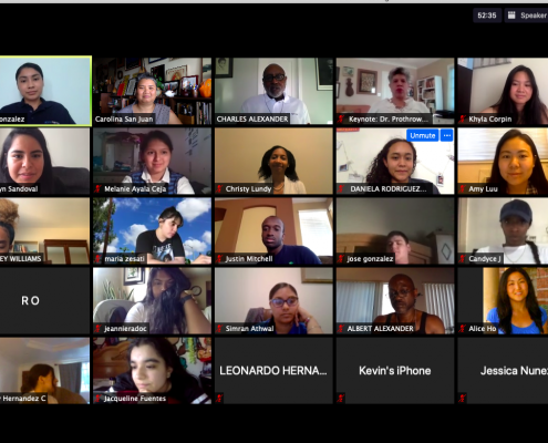 A photo of the High Aims Cohort on Zoom from June 2020.